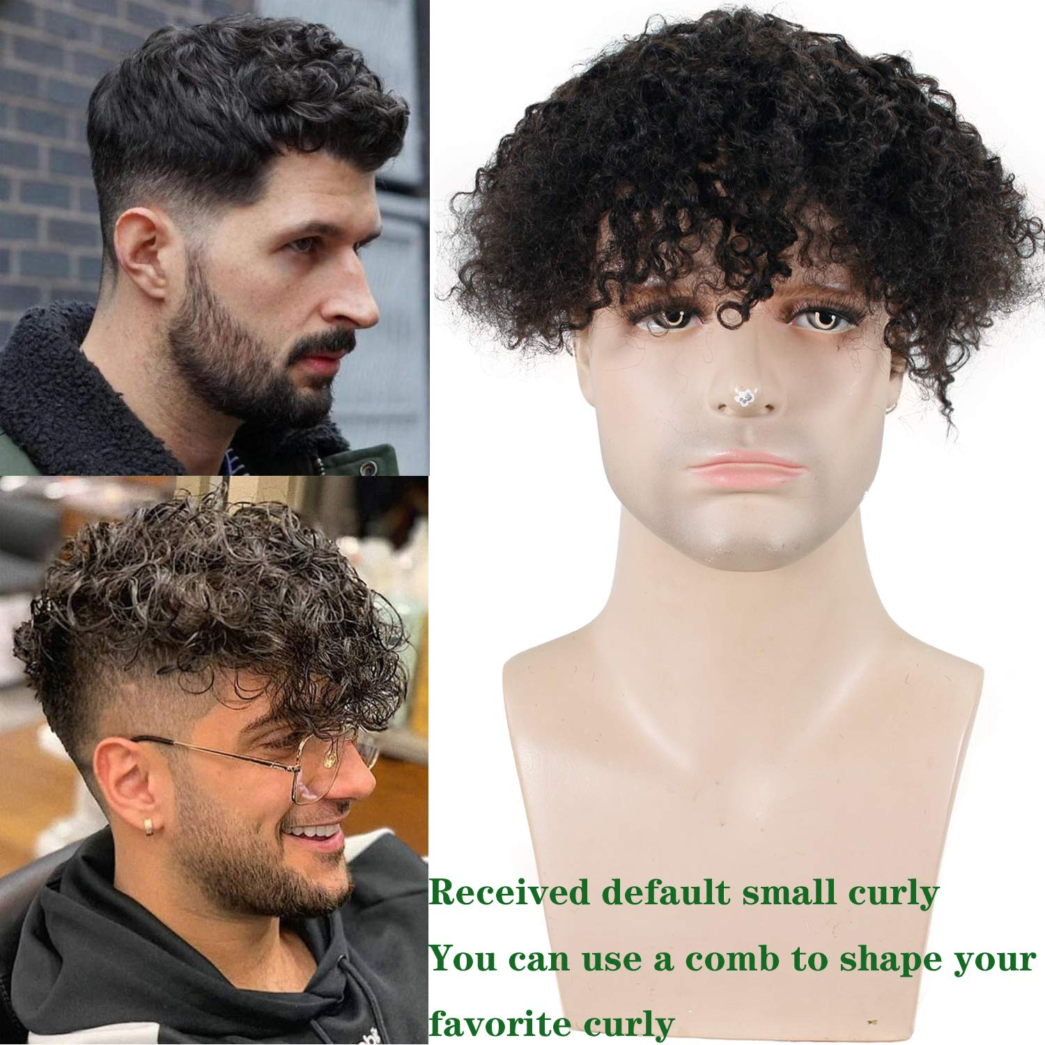 """Eseewig Toupee For Men Kinky Curl Hair Pieces Human Hair Replacement System For Men 9""""x7 PU and MONO Human Hair Mens Toupee Hair"""