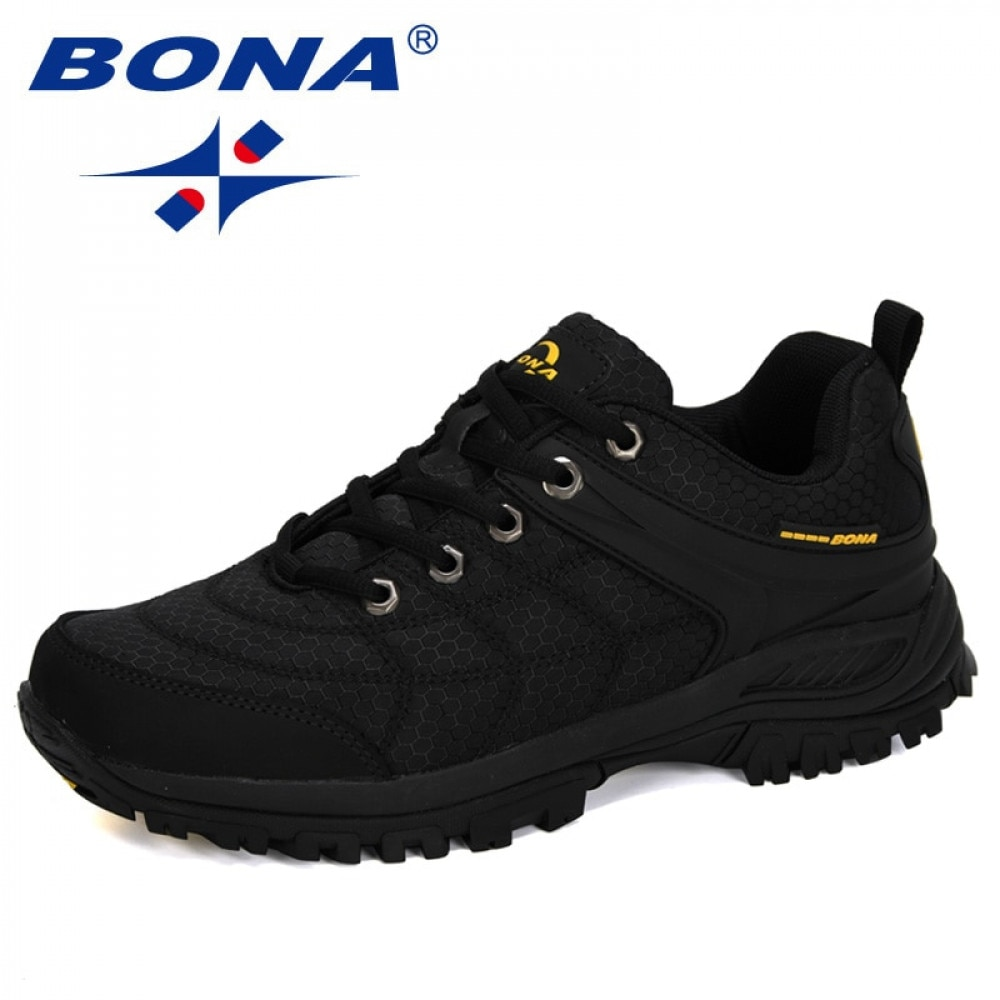 BONA 2020 New Designers Popular Hiking Shoes Man Nubuck Leather Mesh Outdoor Men Sneakers Climbing S