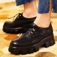 goth military womens cow leather ankle boots high platform creepers buckle riding oxfords party shoes 34 35 36 37 38 39 40