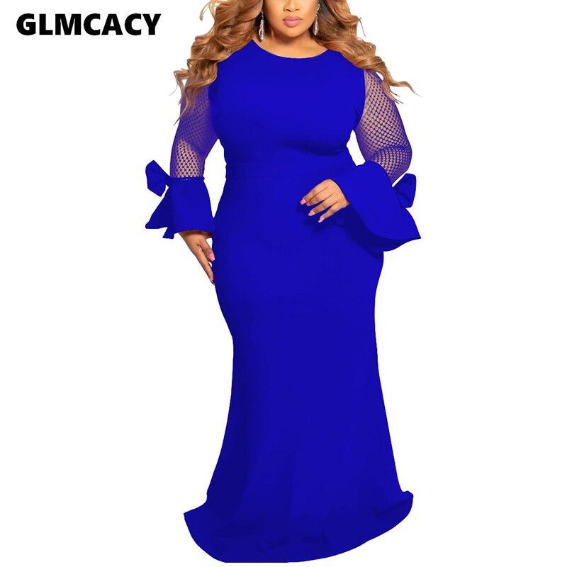 Mujeres de talla grande de manga larga de malla Parthwork Maxi vestido Formal vestido ajustado elegante noche fiesta iglesia Vestidos