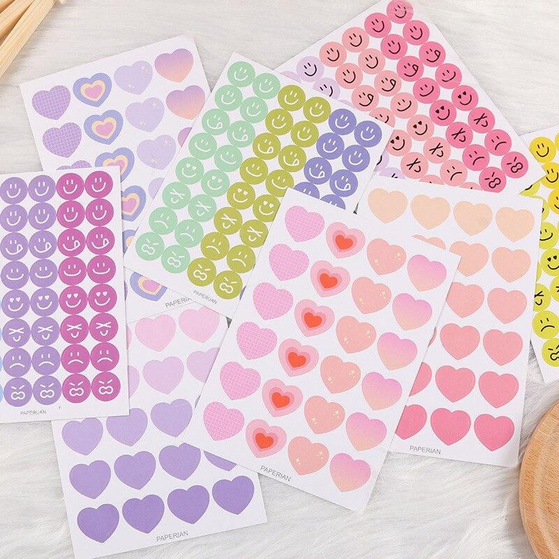 Pegatina de amor con cara sonriente redonda colorida de Ins Korea, pegatina DIY para diario de recortes, álbum de fotos, funda de auriculares para teléfono móvil, pegatina decorativa