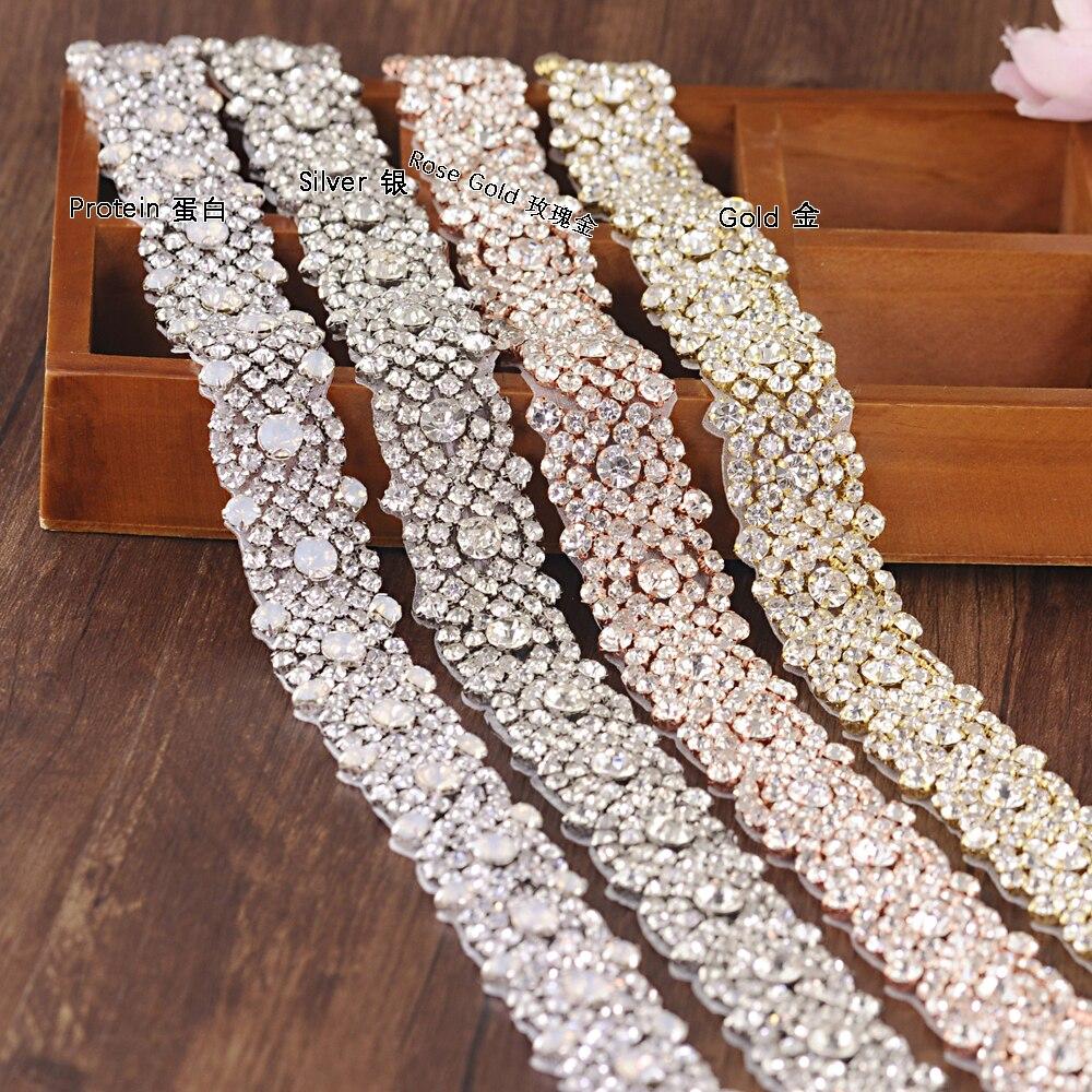 TOPQUEEN S28B Luxury Silver/Gold /Rose Gold Bridal Crystal Trim Handmade Opal Rhinestone Applique Wedding Dress Belts Patch