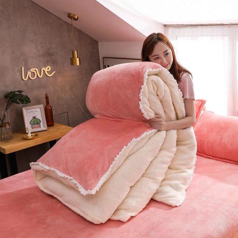 4 teile/satz Winter Flanell Berber Fleece Bettbezug Bett Blätter Kissen Kit Bettwäsche Set Quilt Abdeckung AB Version Doppel