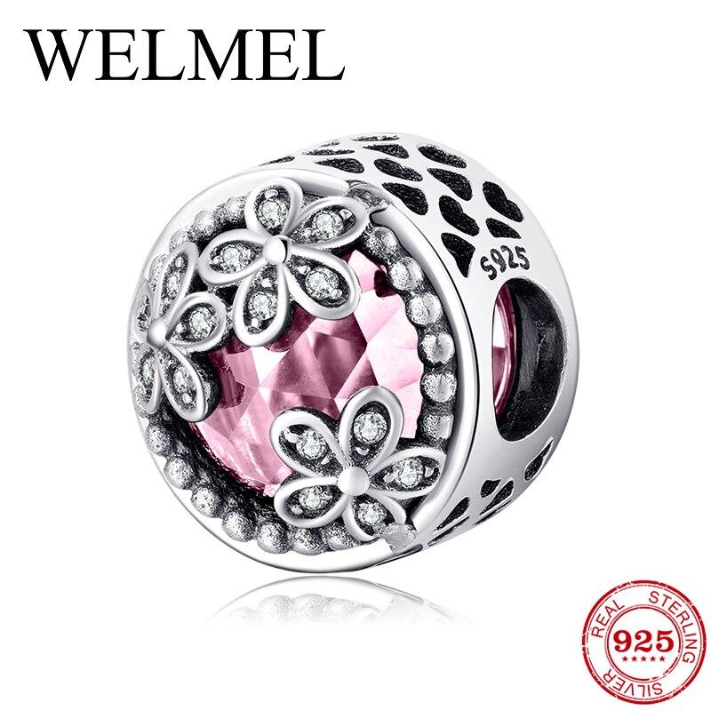 925 пробы Серебряный Роскошный полый Сердечко с тремя цветами ярко-розовый CZ бисер Подходит для оригинального браслета Pandora