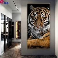 Peinture diamant grande taille  image tigre  broderie  decor de maison  moderne  carre rond  mosaique  bricolage