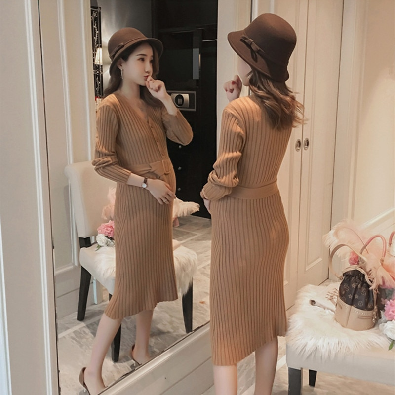 Pregnancy clothes winter dress maternity sweater with belt stretch slim v-neck breast-feeding knitted maternity warm long