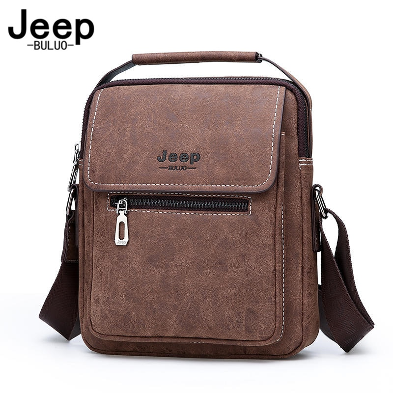 Jeep buluo bolsa masculina de couro, bolsa tira-colo, transversal, clássica, preta, de negócios masculino masculino
