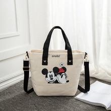 Disney Mickey Mouse dame toile bandoulière sac à bandoulière dessin animé mode Minnie sac à main grande capacité Shopping + livre sac