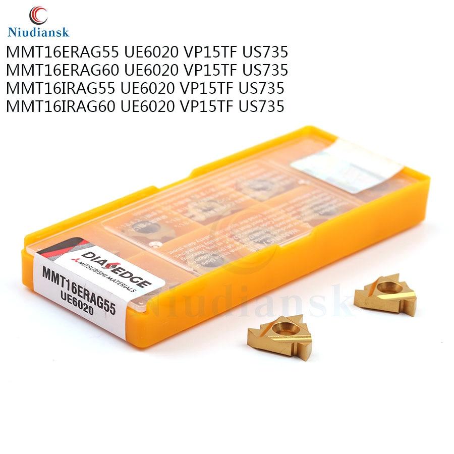 MMT16ER AG55 AG60 VP15TF UE6020 US735, herramienta de torneado de hilo de carburo de alta calidad, herramienta de torneado de torno CNC, herramienta de inserción MMT16ER