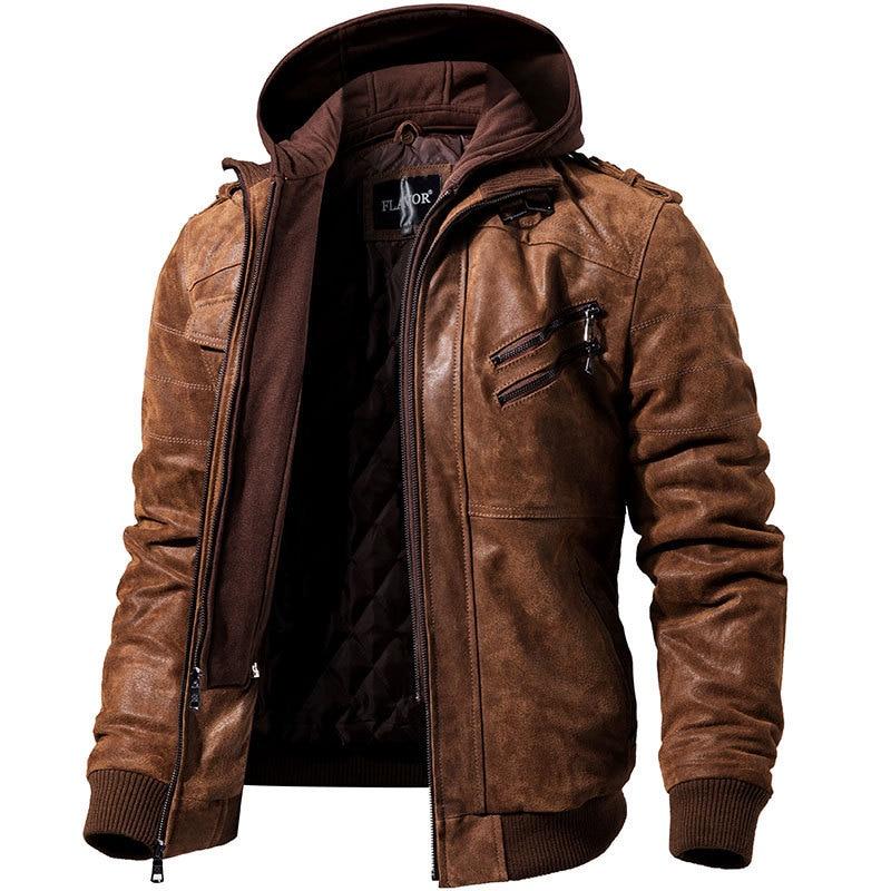Nueva chaqueta de cuero con capucha pu con cremallera embellecida para hombre moda moto bike top abrigo de gran tamaño de alta calidad dropshipping ropa