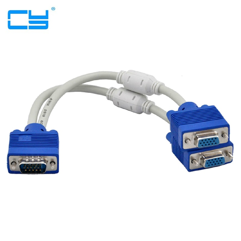 Adaptador de extensión divisor RGB, VGA, SVGA macho a 2 VGA, dos...
