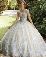 puffy cheap quinceanera dresses ball gown v neck tulle appliques beaded sweet 16 dresses