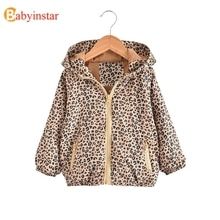 2020 Girls Jackets & Coats Cheetah Print Girls Coat Hooded Baby Girl Fall Clothes Warm Coat Outerwea