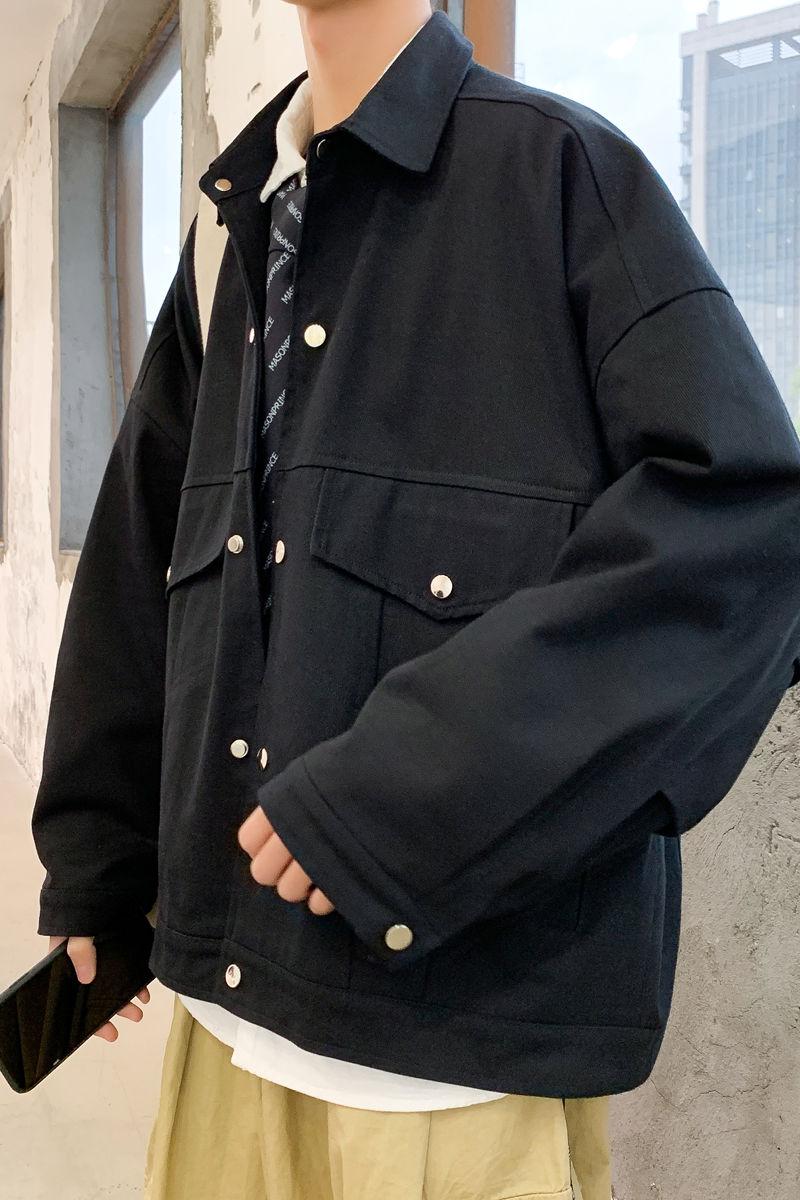 Men's Coat Large Pocket Spring Summer Autumn Fashion Korean Tooling Jacket Loose Movement College New 2021 Black Blue