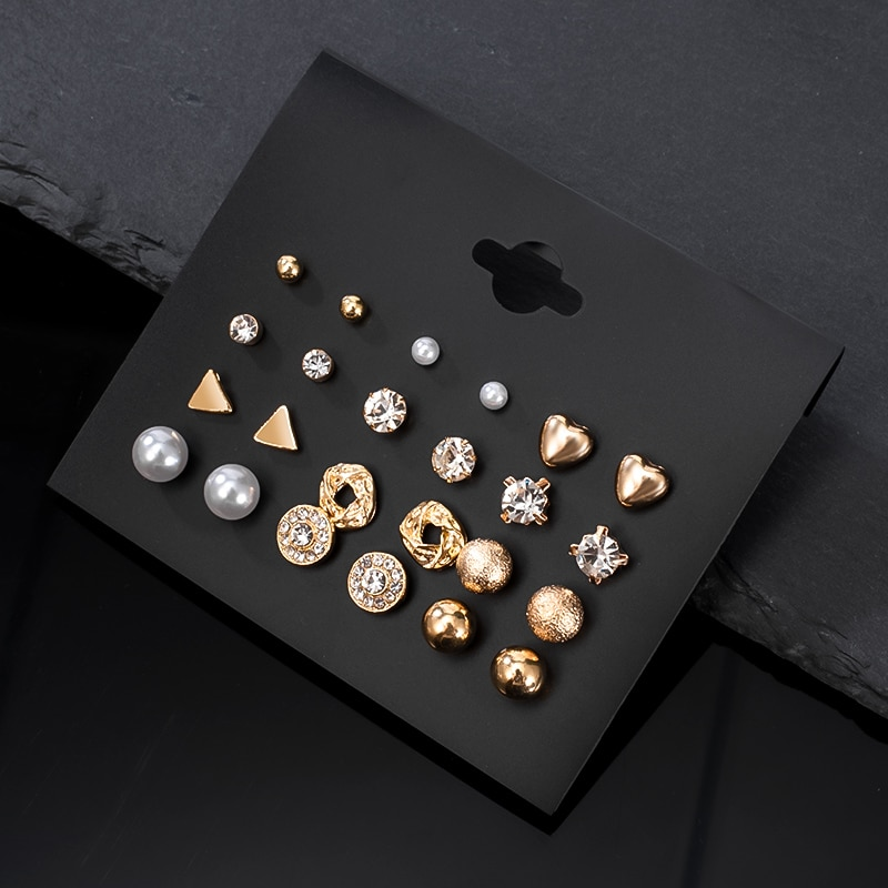 12 чифта / комплект дамски обеци - Модни бижута - Снимка 3