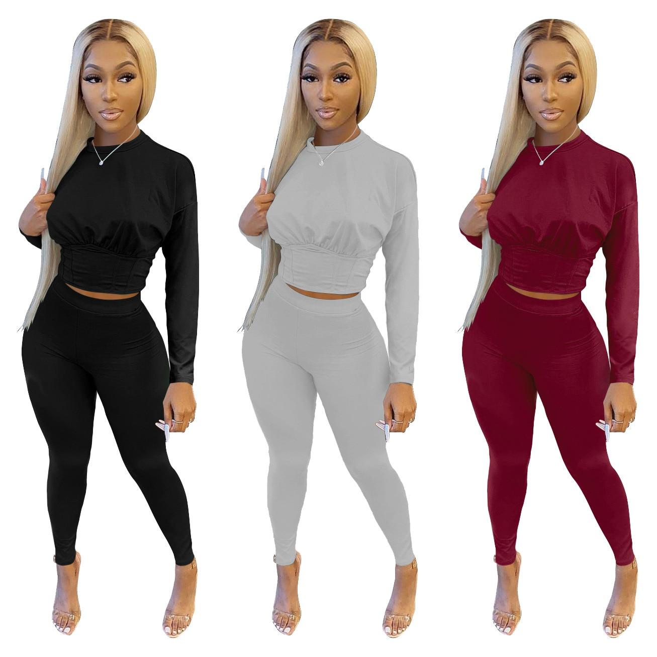 Женские однотонные повседневные спортивные костюмы 2021, свободная футболка с круглым вырезом, брюки, костюмы, женские летние комплекты из дв...