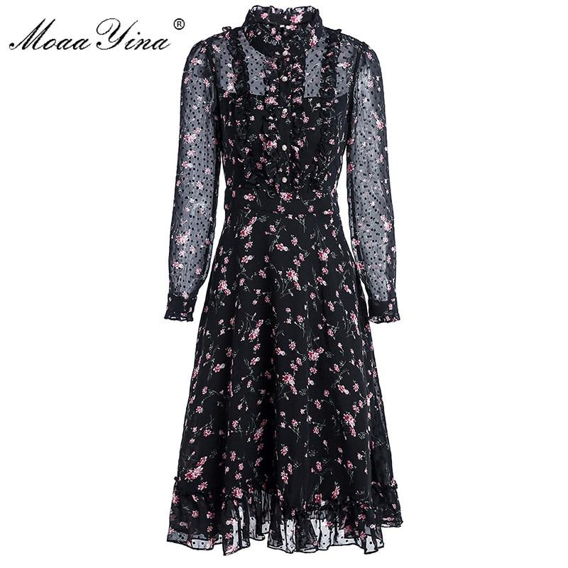 MoaaYina vestido de pasarela de moda Primavera Verano vestido de mujer de manga larga volantes Floral-Estampado vacaciones vestidos elegantes