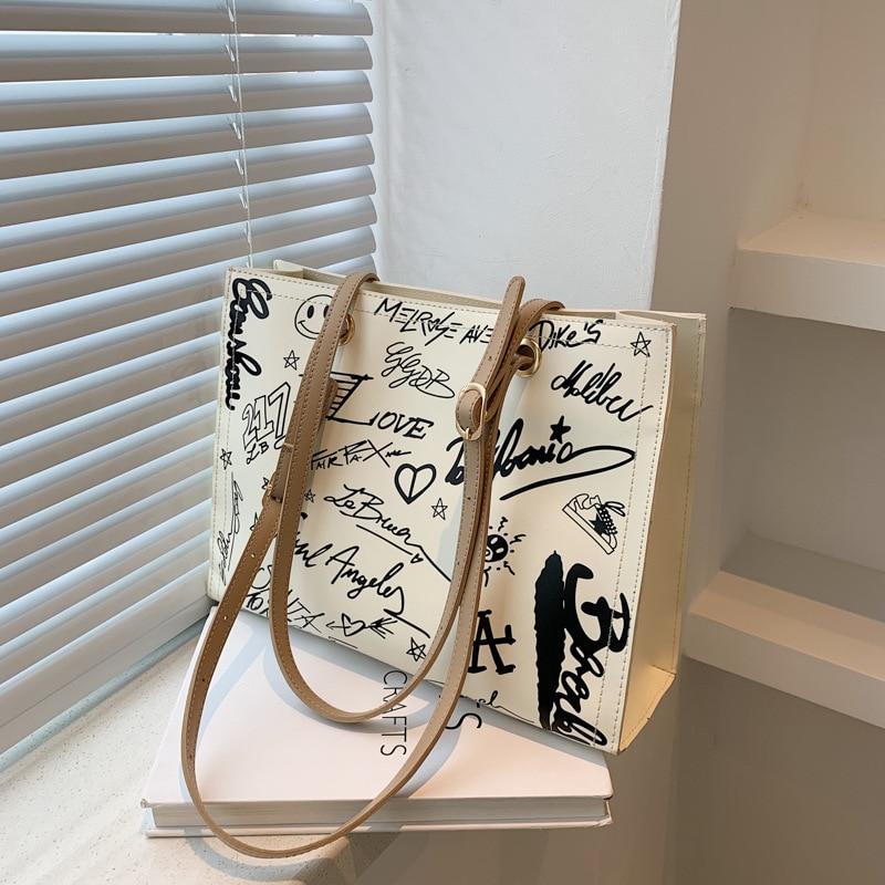 Printed Large Capacity Bag Women 2021 New Large Capacity Shoulder Tote Bag Shopping Bag Luxury Handb