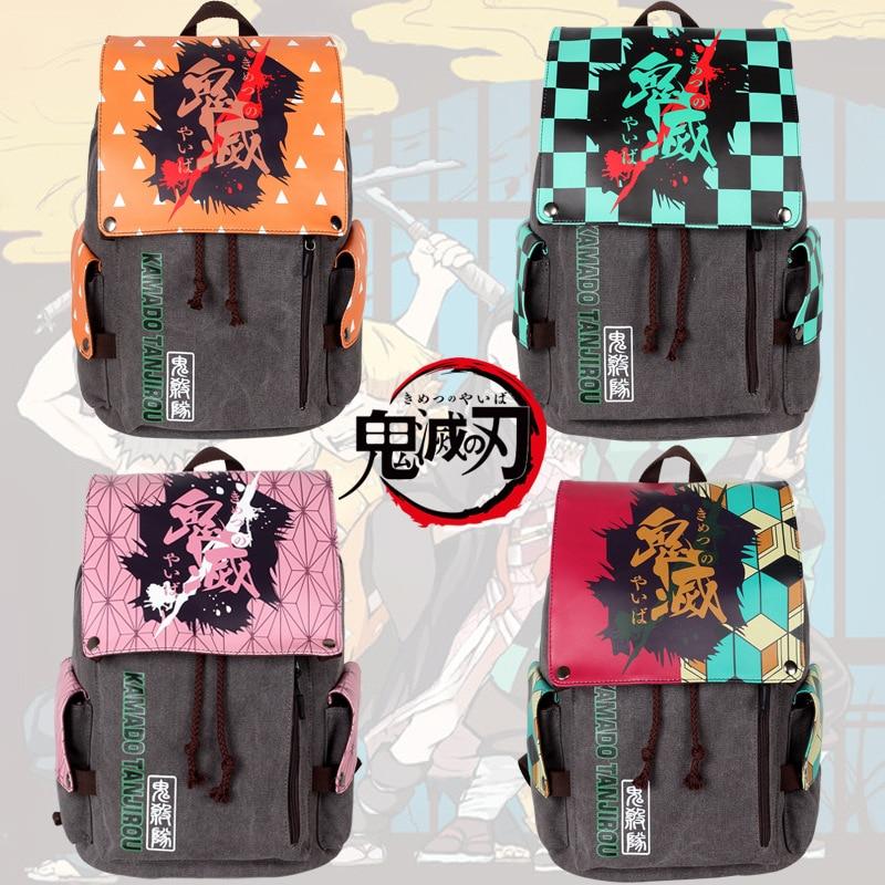 شيطان القاتل: Kimetsu لا Yaiba كامدو Tanjirou Nezuko Agatsuma Zenitsu تأثيري قماش حقيبة السفر المدرسة الكتف حقيبة