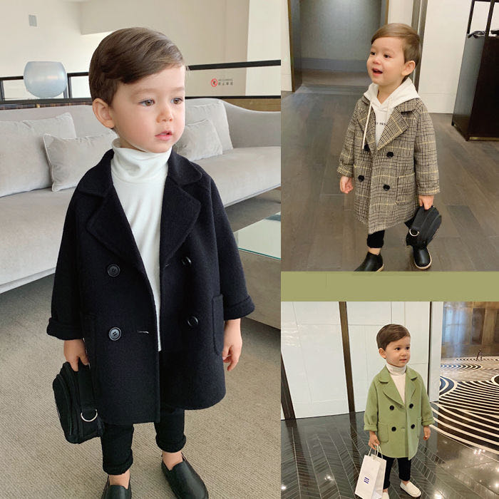 Winter Grid Jackets Boys girls Woolen Double-breasted Baby Boy Trench Coat Lapel Kids Outerwear Coat