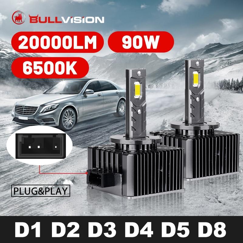 بولفيجن D2S LED العلوي HID D1S D3S D4S D5S D8S D1R D2R D3R D4R Canbus 20000LM الوجهين CSP رقاقة 6500K الأبيض 90 واط التوصيل والتشغيل