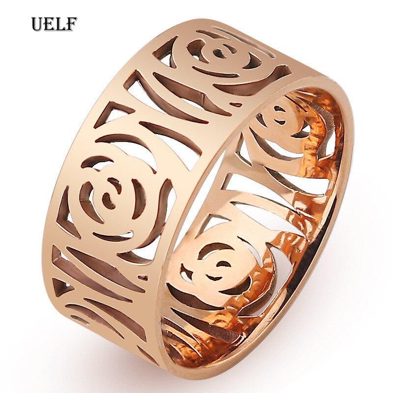 Anillos para amantes Uelf anillo de boda de titanio anillos de flores rosas joyería de moda mejores amigos Promoción de alta calidad al por mayor