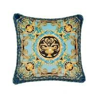 blue gold european american pillow retro light luxury sofa cushion bedside office pillow cover
