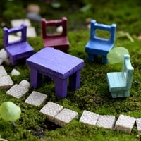 miniatures landscape plant lovely fairy resin garden ornaments garden supply decors mini tables chairs furniture figurine crafts