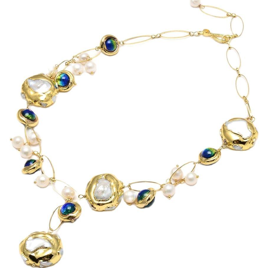 GG مجوهرات المياه العذبة الطبيعية مثقف الأبيض كيشي اللؤلؤ الأزرق مورانو عقد من الزجاج 21