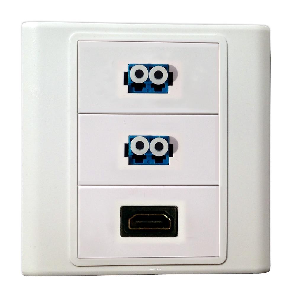 Puertos 2 LC + HDMI conectores, fibra óptica Keystone tapa de salida placas frontales enchufe Puerto Video