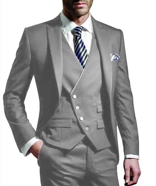 Мужской костюм-тройка, серый пиджак с отложным воротником на одной пуговице, деловые костюмы, смокинг (Блейзер + жилет + брюки)