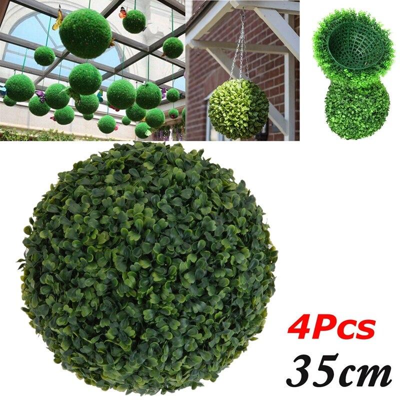 4 Uds 35cm bola de plástico topiario árbol hoja efecto bola colgando hogar jardín decoración planta de madera de imitación