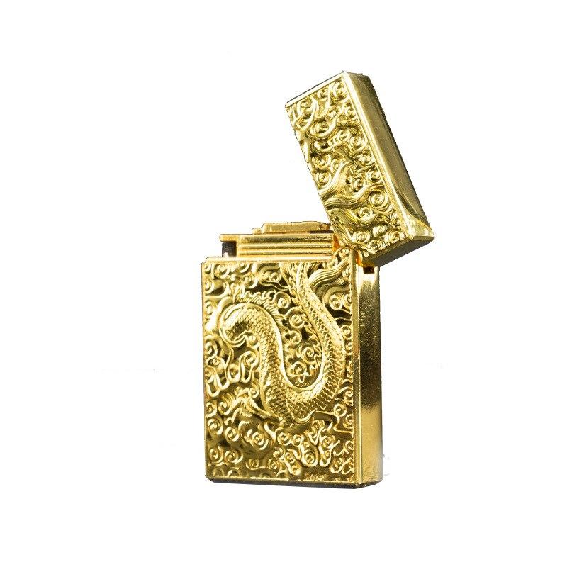 Ultra-thin Metal Retro Embossed  Grinding Golden Dragon Flint Gas Lighter Butane Windproof Cigar Lighter  Torch Lighter enlarge