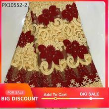 ¡Venta al por mayor! ¡nuevo vestido de estilo africano de Nigeria! Tejido guipur bordado de encaje grande