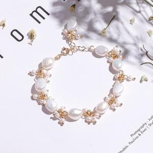 Wholesale 2pcs Trendy Baroque Pearl Bracelet Natural White Freshwater Pearl Bracelet Fine Pearl Jewelry For Women
