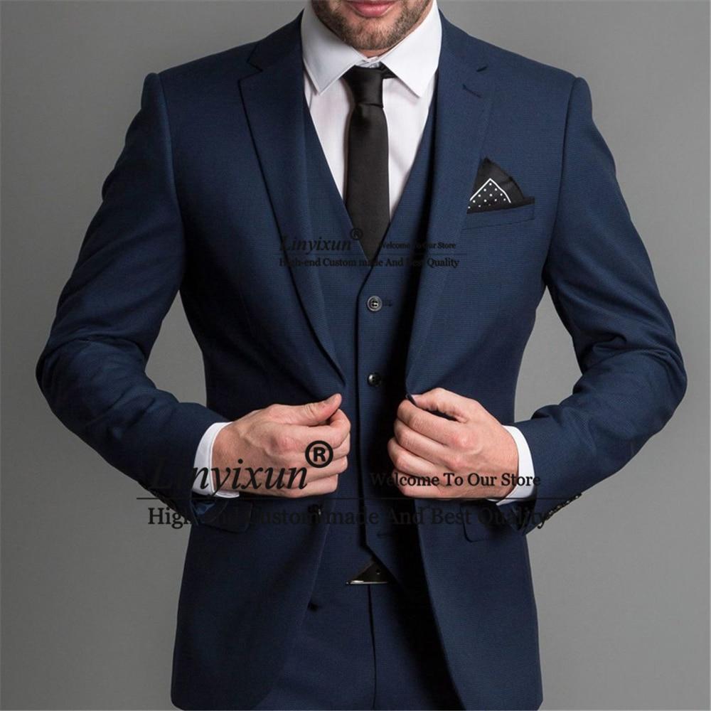 بدلة الرجال الكلاسيكية الأزرق الداكن الرسمي الأعمال السترة الزفاف 3 قطع مجموعة الزفاف سهرة العريس Terno Masculino سترة + بنطلون + سترة