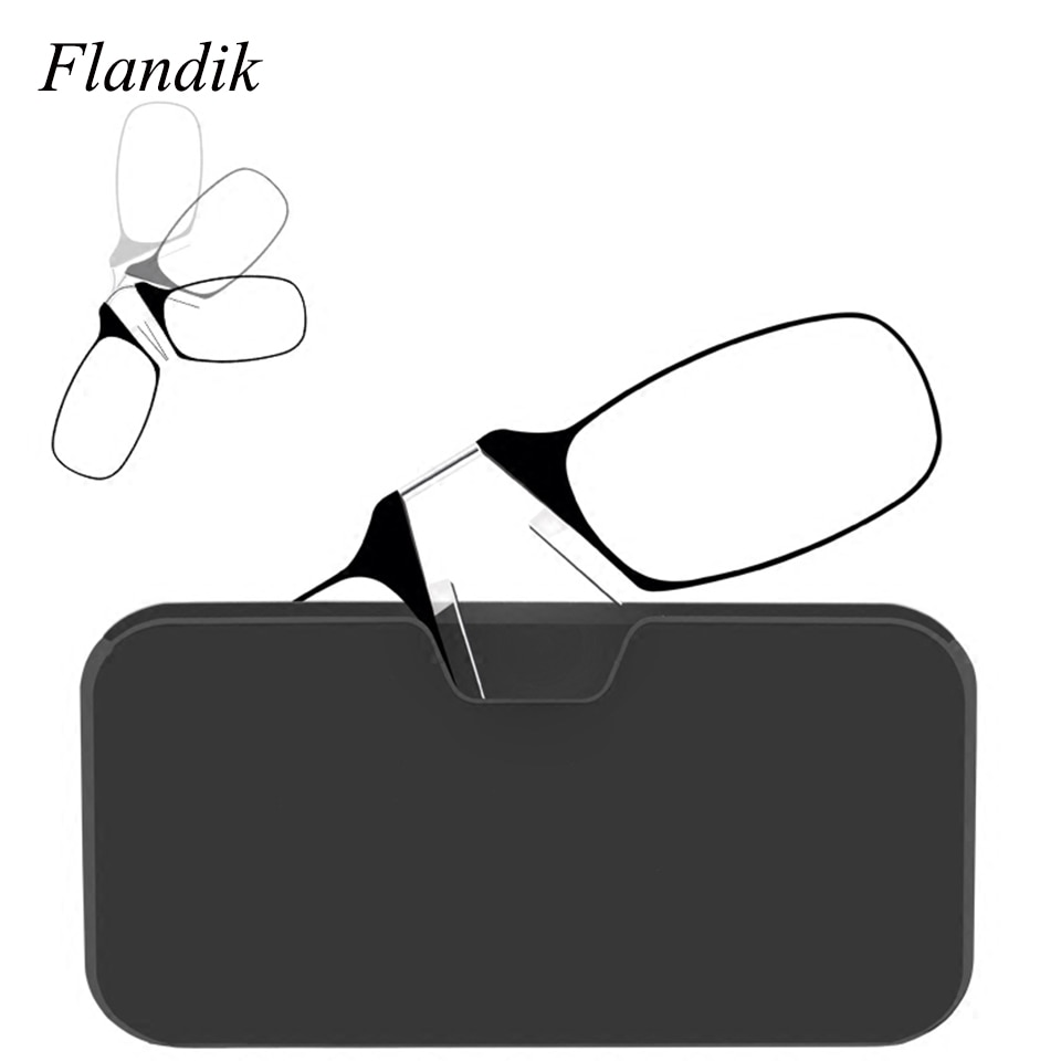 Мини зажим для носа портативный SOS очки для чтения с Чехол подставка для телефона тонкая оптика стильные пресбиопические очки + 1,00 + 1,50 + 2,00 + 2,50