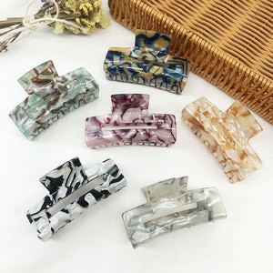 Korea Geometric Hair Claw Acetate Hairpin For Girl Elegant Marble Hair Accessories Rectangle Popular Headdress Women Shark Clip