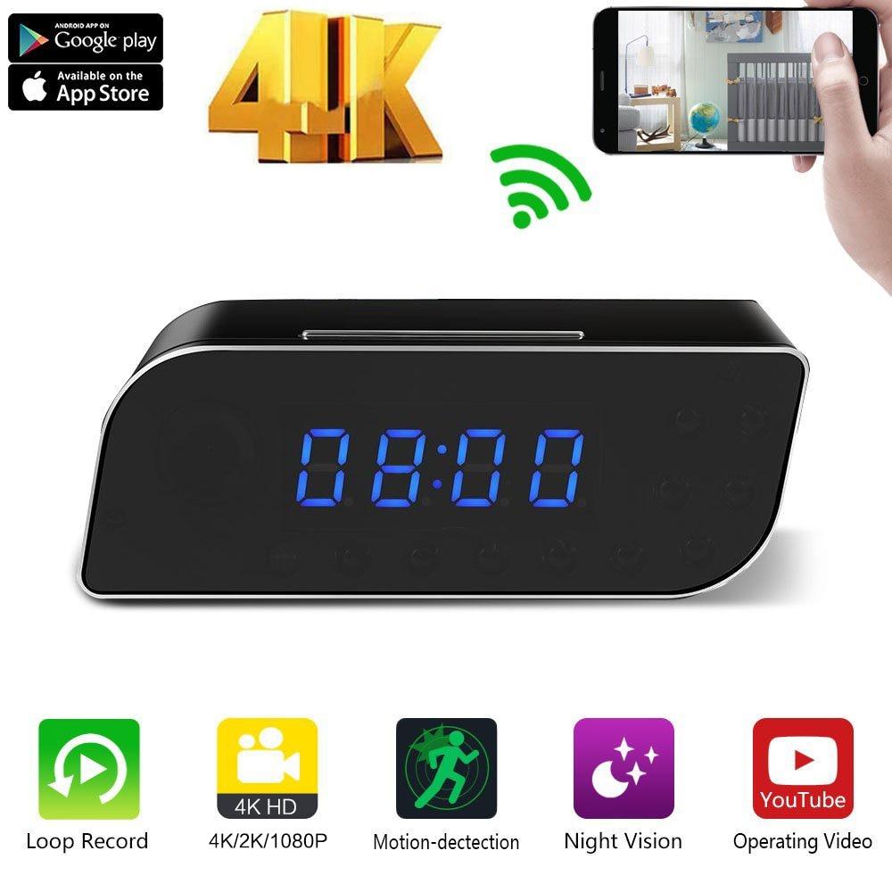 Clock WiFI Camera 4K 1080P HD Time Alarm P2P IP/AP Security Night Vision Mini DV DVR Camcorder Motion Detection Home Secret hidd