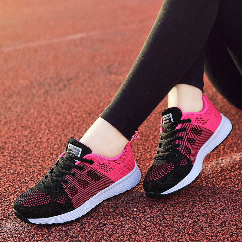 Sneakers Women Shoes Flats Casual Ladies Shoe Woman Lace-Up Mesh Light Breathable Female zapatillas