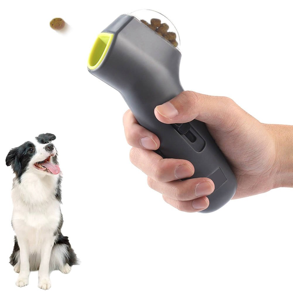 1pc pet snack lançador deleite do cão distribuidor filhote de cachorro trata petiscos do cão brinquedos para o exercício e treinamento (cinza 18*7.5*3.5cm)