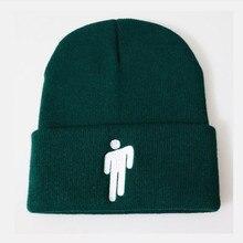 Вышивка Billie Eilish зимняя шапка модная хип-хоп Мужская вязаная шапка Skullies Beanie хип-хоп Skullies Bonnet теплая Женская шапка с черепом