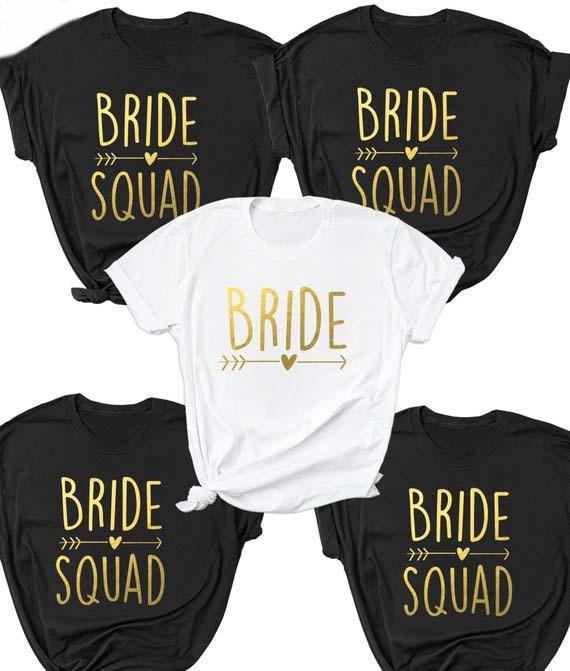 Camiseta para parejas de novia/equipo de novia [fuente dorada] manga corta