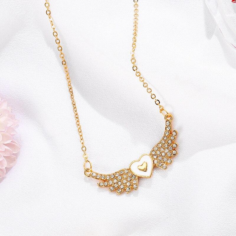 CSHOU137-قلادة زركونيا على شكل قلب للمرأة ، قلادة معدنية ، أجنحة الملاك ، قلادة زفاف ، رابط هدية للمشتري