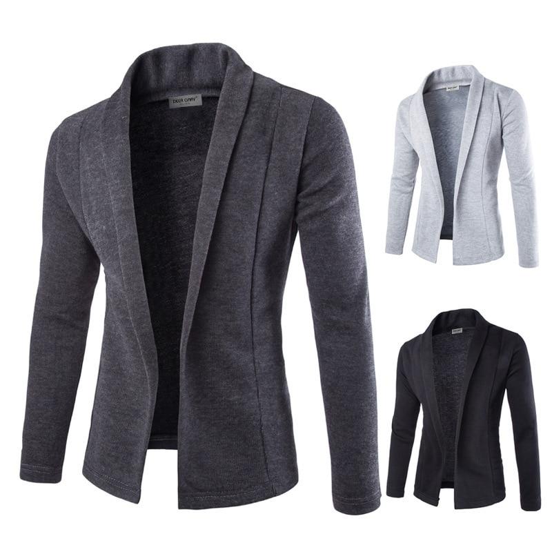 Mens Solid Blazer Cardigan Long Sleeve Casual Slim Fit Sweater Jacket Knit Coat H9