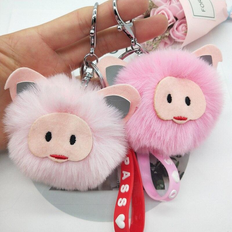 Плюшевые брелки в виде животных Подвеска на рюкзаке милые помпоны в виде свиньи брелки для телефона сумки автомобиля забавные брелки мягки...