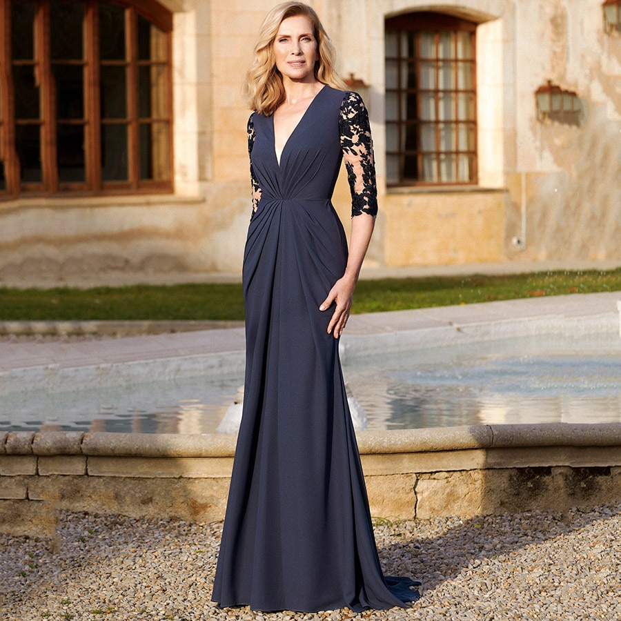 Sexy V-Neck Mermaid Navy Robe de Soiree Femme Pleated Chiffon Long Mother of the Bride Dresses with