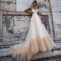 thinyfull chic wedding dresses boho lace appliques spaghetti illusion champagne princess beach bridal gowns vestidos de novia