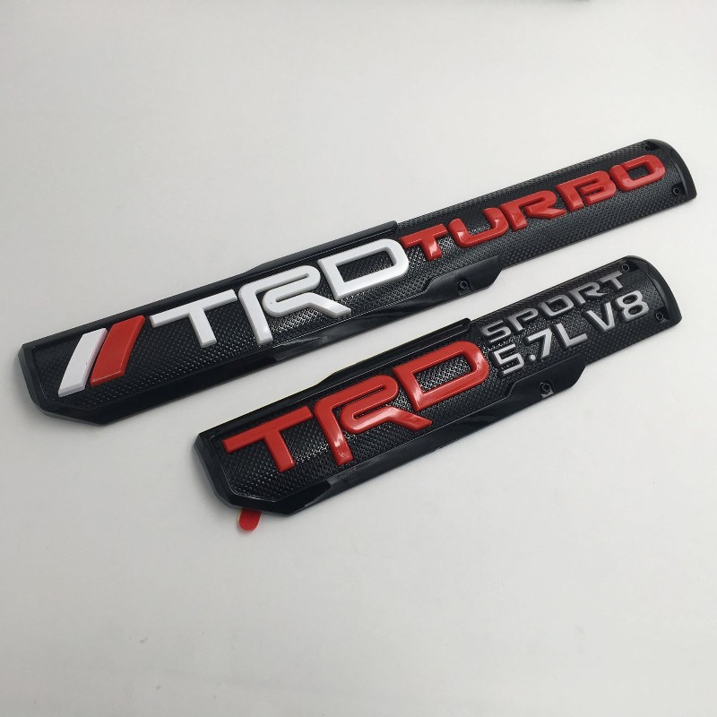 For Toyota TRD SPORT5.7L V8 Stickers ABS Door Embelm Badge Logo for Yaris Corolla Rav4 Avensis Auris Hybrid Crown Tundra Styling