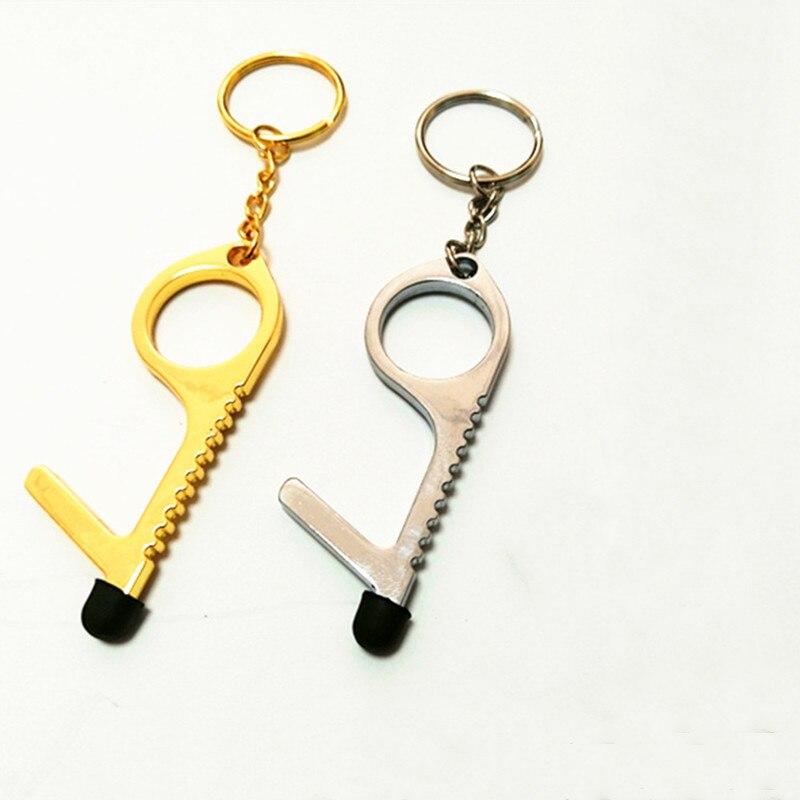 1 шт. бесконтактный ключ открывалка двери Личная безопасность цинковый сплав сенсорный экран брелок-ручка самооборона кольцо